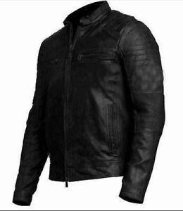 New Cafe Racer Motorcycle Vintage Biker Distressed Black Leather Jacket