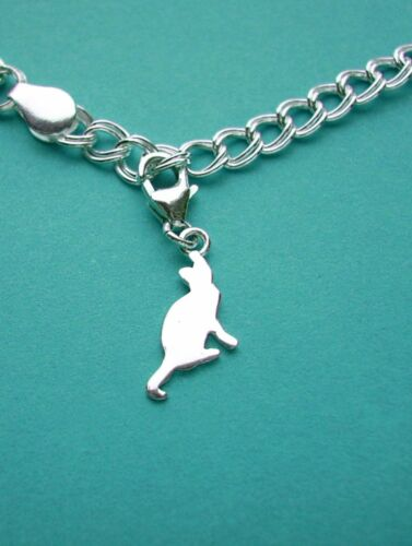 CLIP ON 925 Solid Sterling Silver CAT Charm with Trigger Clasp finding