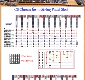 c6 chord chart for 10 string pedal steel guitar 48 chords x 12 locations ebay. Black Bedroom Furniture Sets. Home Design Ideas