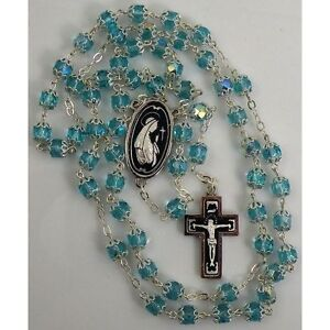Damascene-Silver-Rosary-Crucifix-Virgin-Mary-Teal-Beads-by-Midas-of-Toledo-Spain