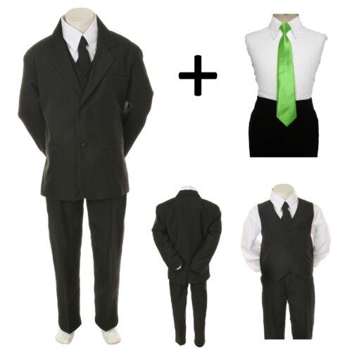 New Boy Toddler Kid Formal Wedding Tuxedo Suit Vest Free Green Tie 6PC sz 5-14