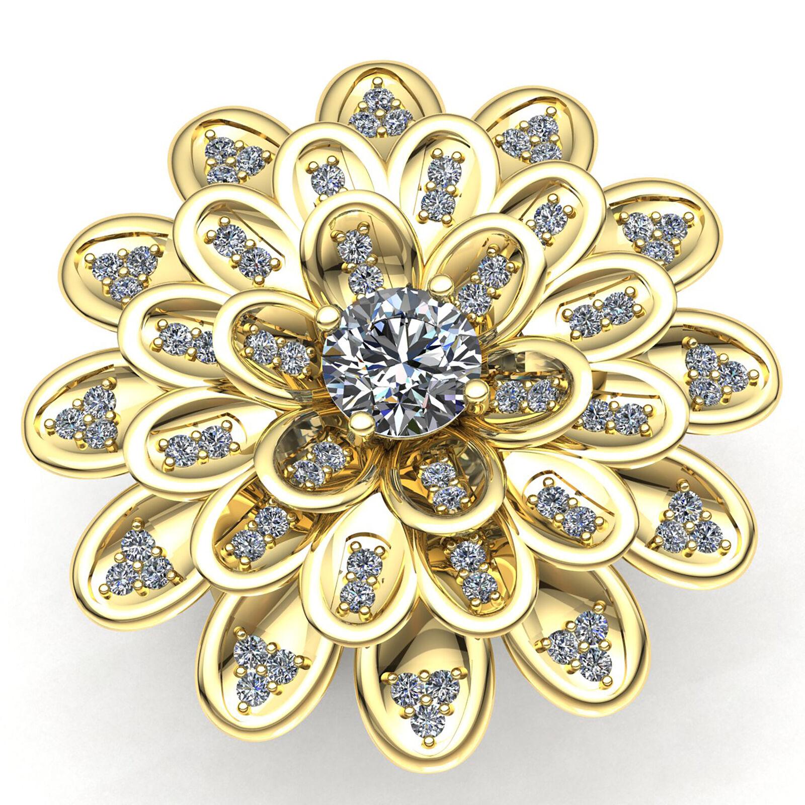 Genuine 1.5ct Round Cut Diamond Ladies Fancy Flower Engagement Ring 14K gold
