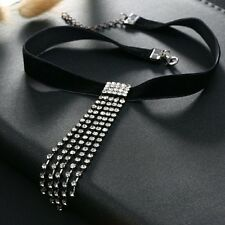 Black velvet choker necklace silver drop fashion stone luxury free shipping