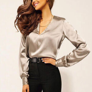 8d655c7ef8c2e Sexy Women s V-Neck Formal Long Sleeve Satin Silk Work Blouse Casual ...