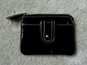 Fossil-Small-Black-Patent-Leather-Coin-Pouch-Purse-Hard-To-Find-Style