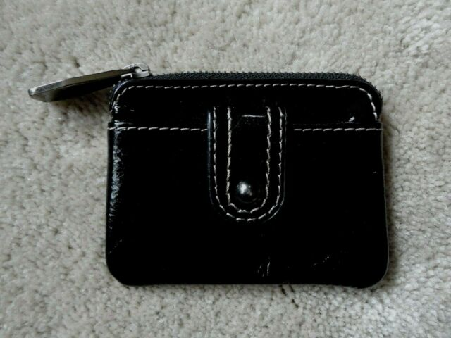 Fossil Small Black Patent Leather Coin Pouch Purse. Hard To Find Style!!