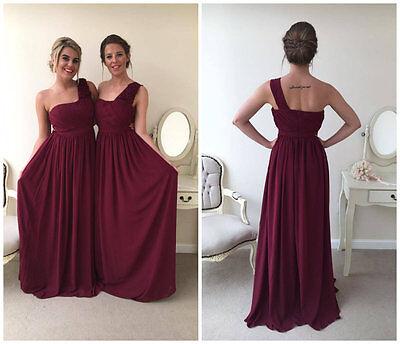 Ausdrucksvoll Chiffon Burgundy Bridesmaid Wedding Dress Party Evening Formal Maxi Ball Gown
