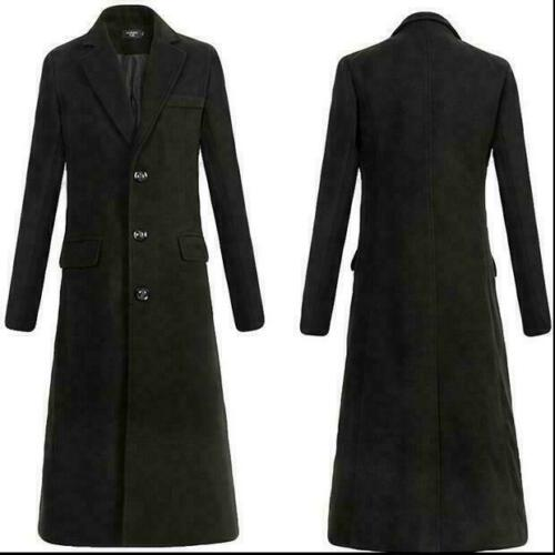 Men Military Woolen Single Breasted Long Trench Coat Jacket Outwear Long Parkas@
