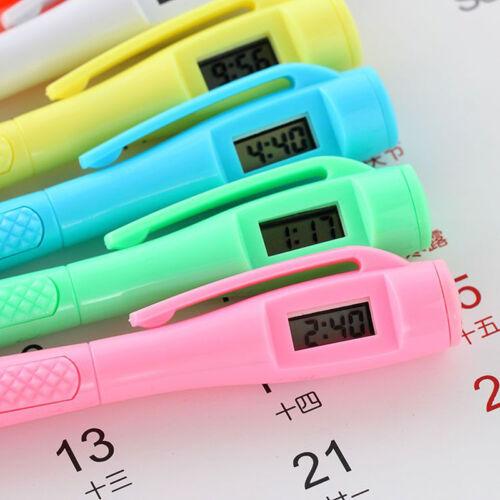 2X Kugelschreiber mit Digitaluhr Elektronische Uhr Schüler Büro