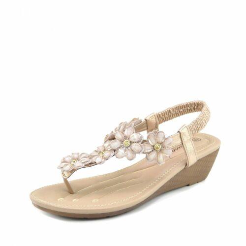 Women Summer Shoes Sandal Wedge Ladies Beach Slippers Girls Sliders Floral Bead