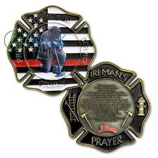 Firefighter Challenge Coin Red Lives Matter Prayer Fire Department Gift Coin