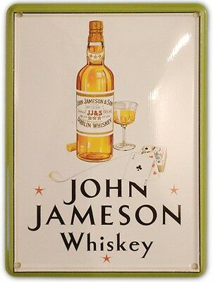 JAMESON IRISH WHISKEY BOTTLE Small Metal Tin Pub Sign