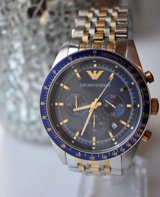NEU OVP Emporio Armani AR6088 Herren Uhr Chronograph Edelstahl Silber Blau Gold