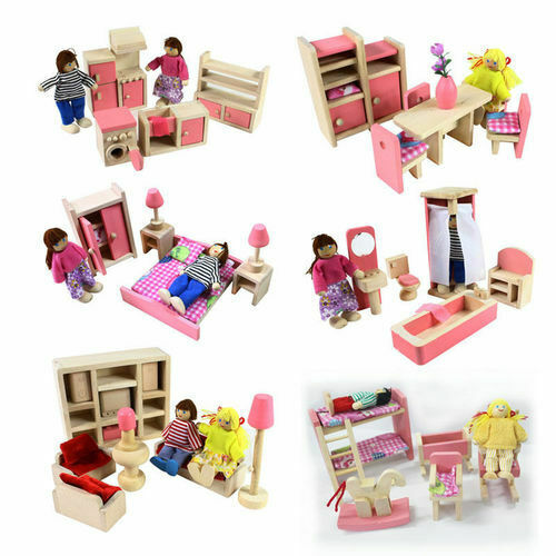 Wooden Furniture Room Set Dolls House Family Miniature Toy Kid Children Gift UK