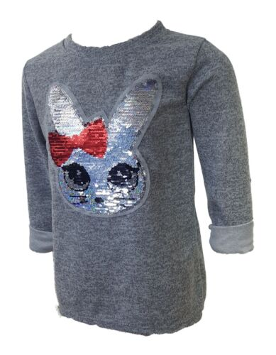 Kinder Pullover Zauberkaninchen Hellgrau mit echten Pailletten Hase Osterhase