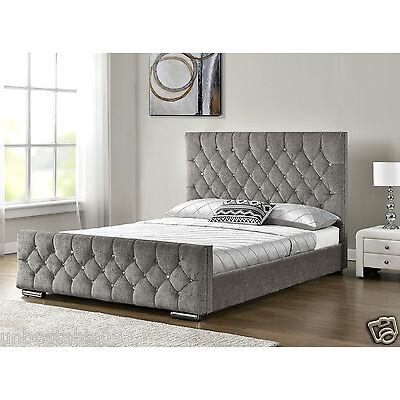 Diamond Upholstered Fabric Bed Frame Velvet Chenille Double King Size Mattress