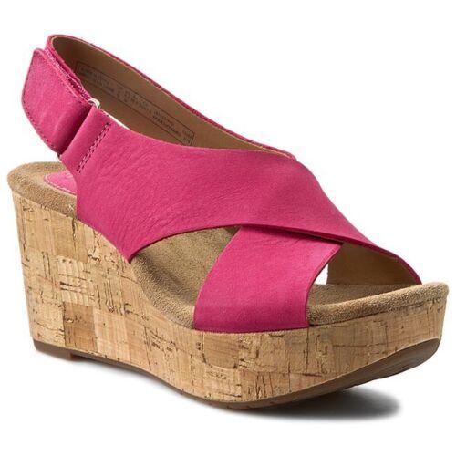 Pink Leather 4 Cuña tacón Cork de Nueva medio Platform con Clarks 5 cuña Sandalias Ladies tqOc4EZg