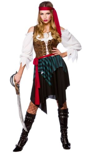 Caribbean Pirate Lady Buccaneer Swashbuckler Fancy Dress Costume XS to XXL
