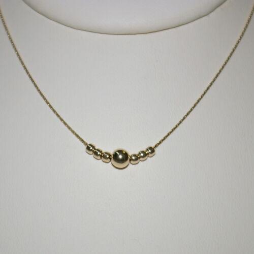 3 pcs 14kt Gold Filled 0.6 mm Fine Chaîne avec 5 mm /& 2.5 Mm Balle de colliers de perles Lot