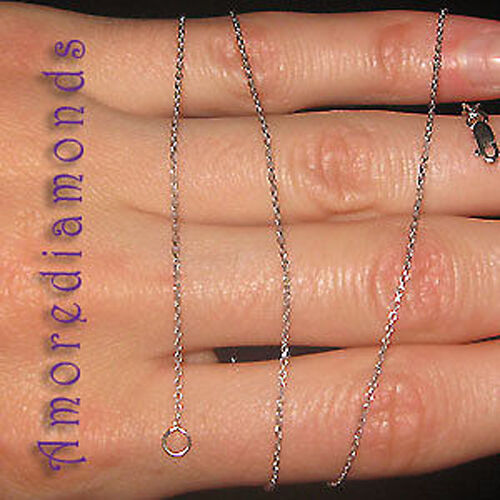 14K WHITE gold 16 INCHES CABLE CHAIN WITH LOBSTER CLASP
