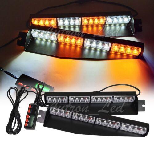 """Autron 34/"""" 32W LED Emergency Warn Visor Deck Split Strobe Light Bar Amber White"""