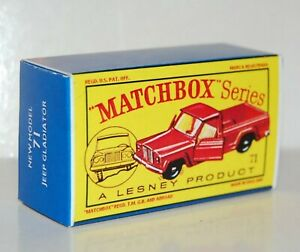 Matchbox-Lesney-No-71-Yellow-Insert-JEEP-GLADIATOR-empty-Repro-style-D-Box
