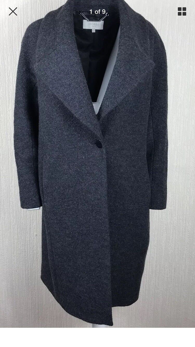 Hobbs Womens Coat Size 14 UK Cocoon One Button Grey Knee Wool Blend