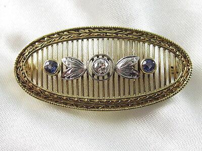 14K Old European Diamond Brooch Pin Sapphire Retro Vintage Art Deco Estate Fine