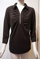 $79 Chico's Zenergy Golf Textured 3/4-sleeve Polo, Black, Size 1 (s - 8/10)