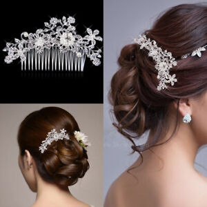 Bridal-Wedding-Pearl-Flower-Hair-Pins-Clips-Crystal-Bridesmaid-Side-Comb-Jewelry