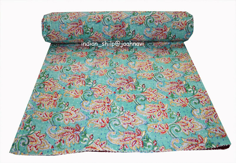 Indian Kantha courtepointeed Handmade Cotton Blanket Ethnic literie litspread Coverlet