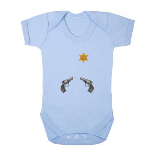 Sheriff Star Cowboys Two Guns Pistols Infant Toddler Baby Bodysuit One Piece