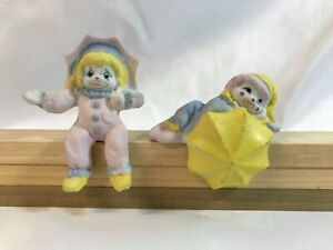 Ceramic Baby Clown Figurines (2) Miniature Shelf Sitters House of Lloyd 1987