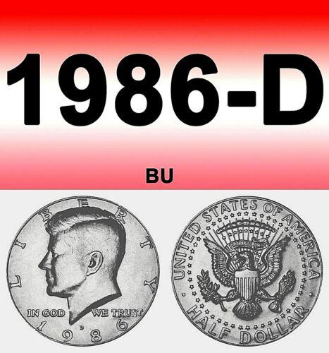 1986-D KENNEDY BRIGHT UN-CIRCULATED CLEAR HALF DOLLAR.===BU===C//N===============