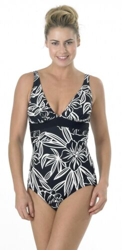 Swimwear Padded Square Back New Ladies Black /& White Floral Support Swimsuit