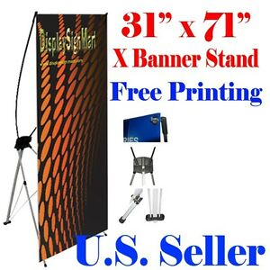 """X Banner Stand 31"""" x71"""" Free Graphic Print Trade Show Display Free Bag Pop Up M"""