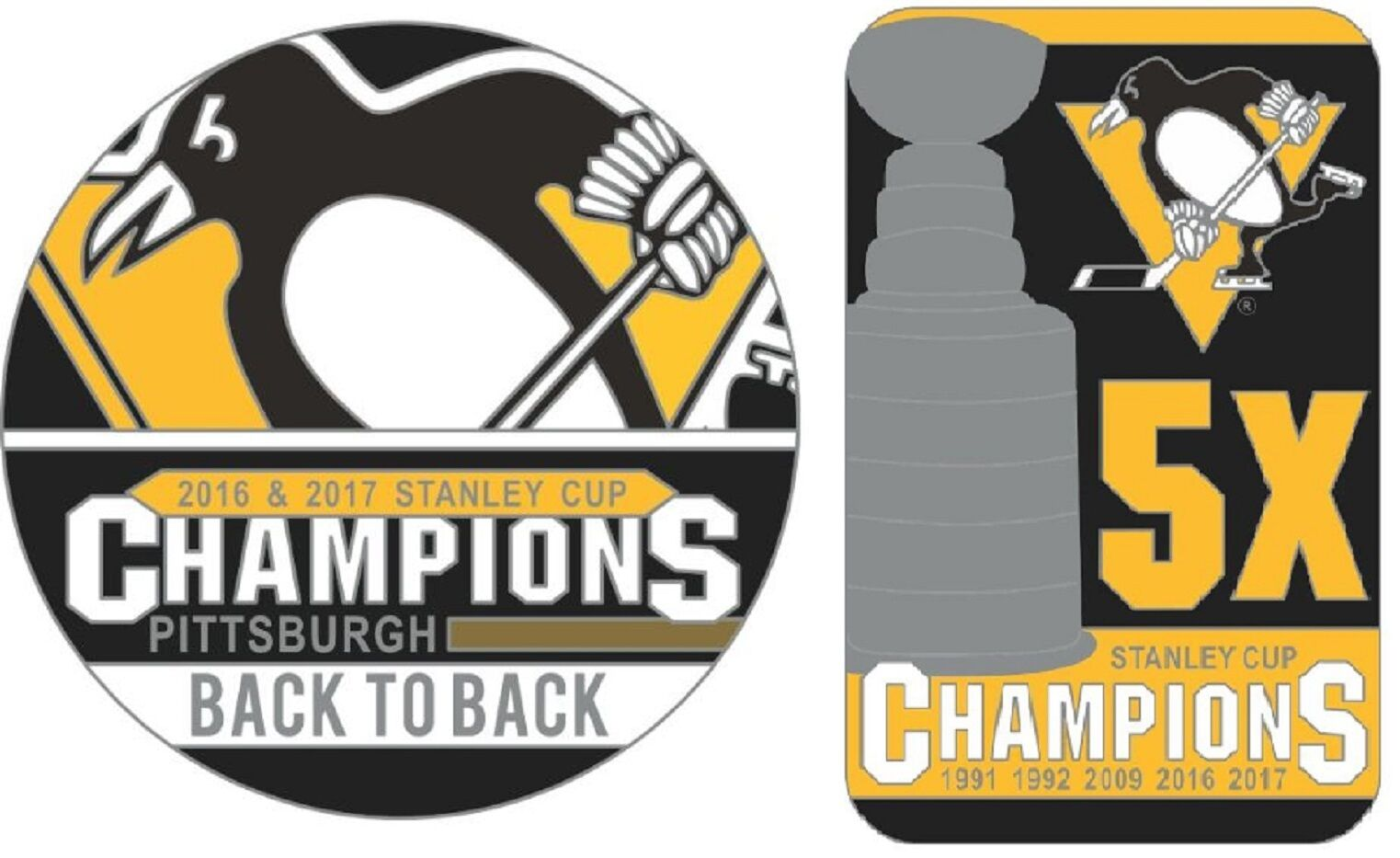 5879ca950e9 2017 PITTSBURGH PENGUINS STANLEY CUP FINAL 5X CHAMPIONS   BACK TO ...