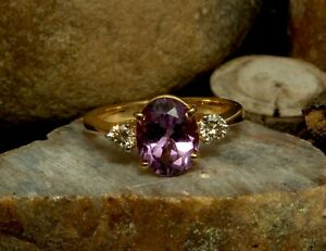 Natural Amethyst Oval Gemstone Gold Plated 925 Solid Silver Women Designer Ring