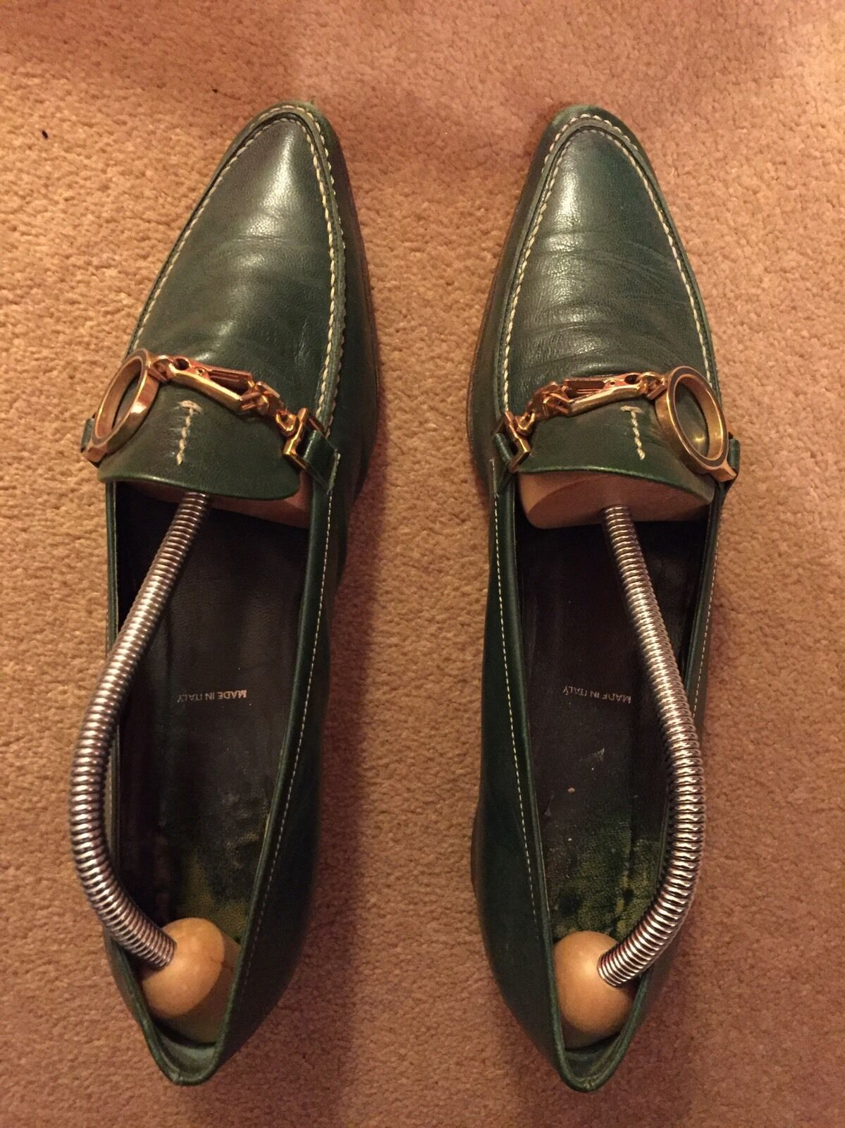 Prada vintage Ladies Leather Designer shoes Green Size 5 1 2