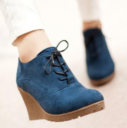 Retro Womens Wedge Heel Shoes Lace Up Suede Platform Pumps Casual Round Toe V133
