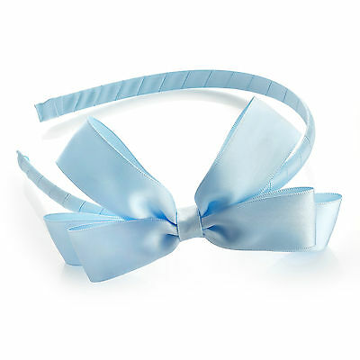 satin bow headband baby blue hair alice band bridesmaid ha29939 girls school