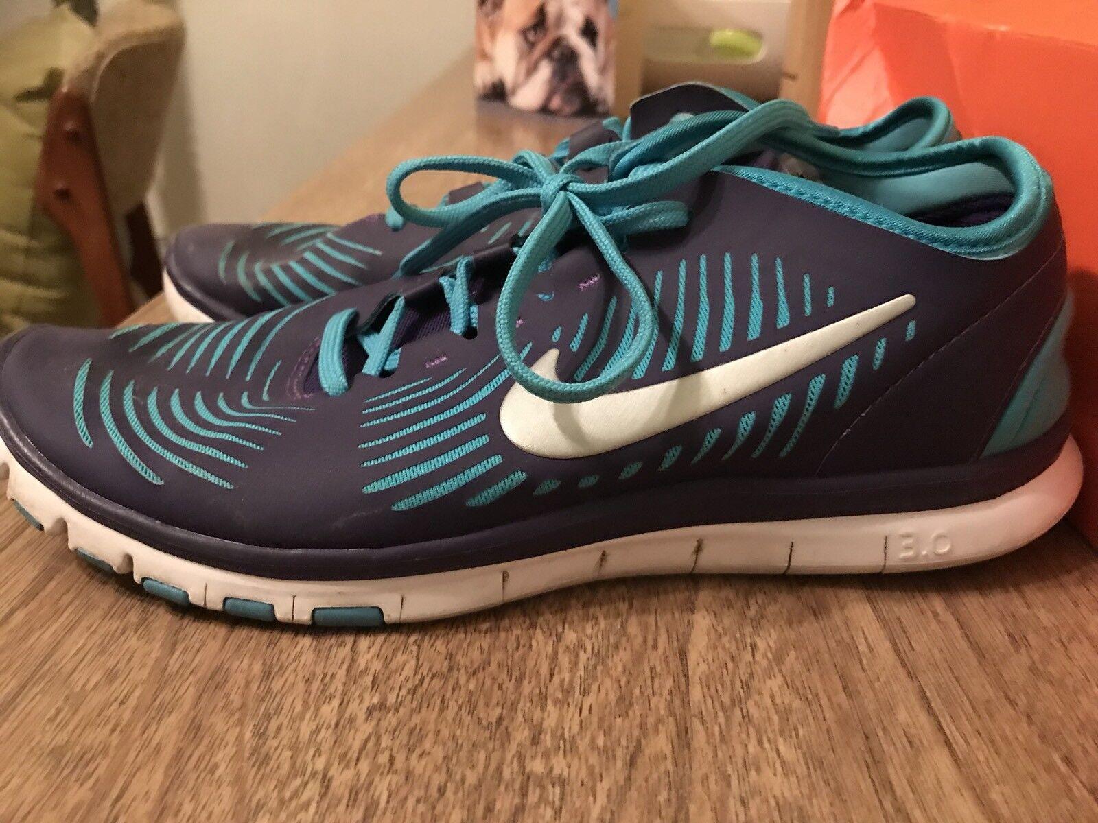 Nike Free 3.0 Balanza Run Shoes EX COND Purple Blue Aqua Turquoise Women's 8
