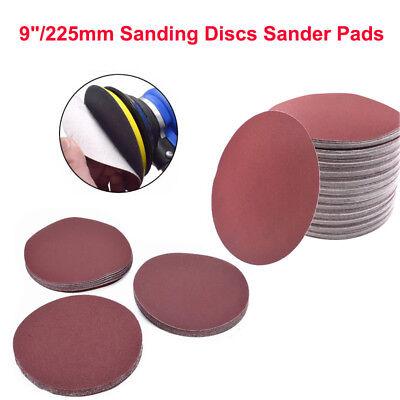 "5//10pcs 9/""//225mm Sanding Discs Sander Pads Hook and Loop Sandpaper 60~320 Grit"