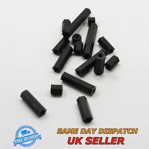 M3 Noir Femelle Nylon Hex piliers Hexagonal Standoff Spacer Plastique PCB