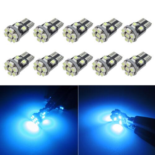 10x Ice Blue 168 194 2825 W5W 13-SMD LED Bulbs for Car Interior Exterior Lights