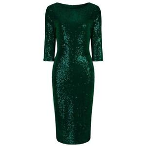 Emerald-Green-Sexy-Velour-Sequin-Wiggle-Bodycon-Party-Dress-UK-8-18