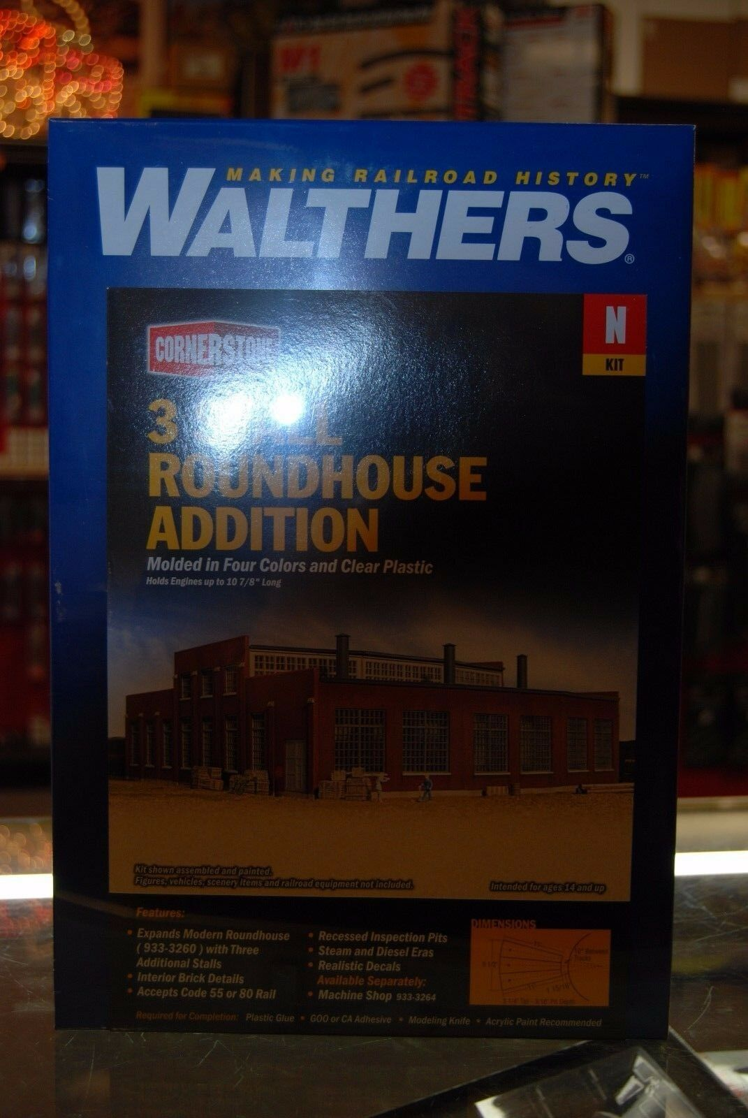 N Walthers Cornerstone 933-3261 * 3 Stall Roundouse ADDITION kit * NIB