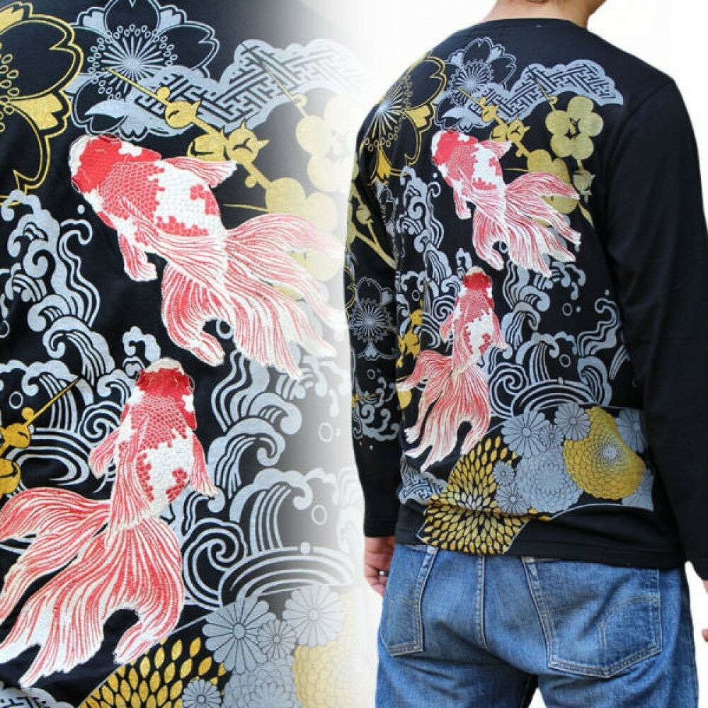 Japanese pattern embroiderot long sleeved T-shirt Goldfish embroidery  F S