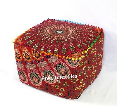 """22"""" Large Indian Mandala Cotton Square Ottoman Pouf Cover Footstool Seating Red Drip-Dry Home & Garden"""