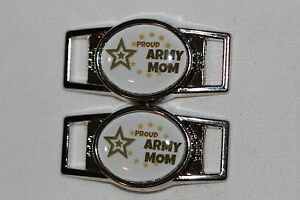 """star Oval shoelace charm pair /""""Proud Army Mom/"""" w//lg shoes//paracord 2"""